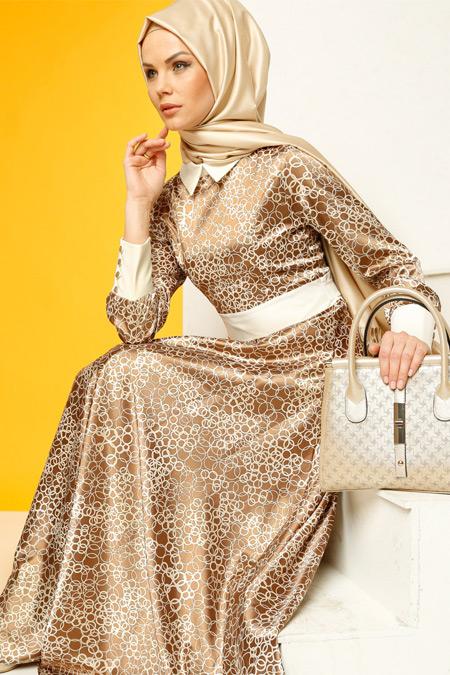 Luvice Desenli Vizon Elbise