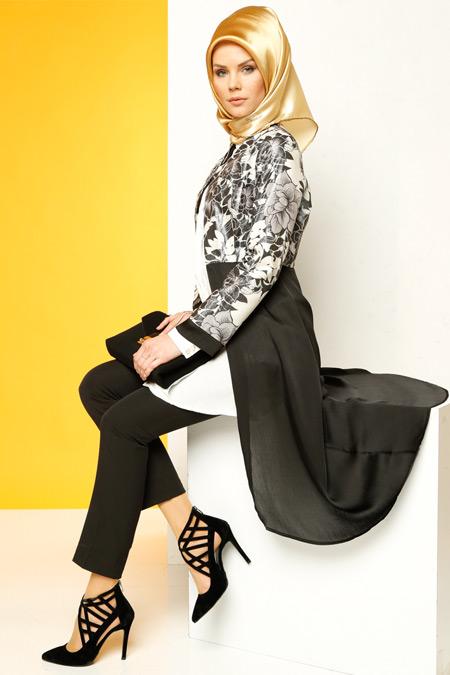 Luvice Siyah Desenli Ceket