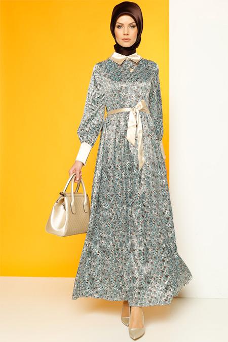 Luvice Turkuaz Desenli Elbise