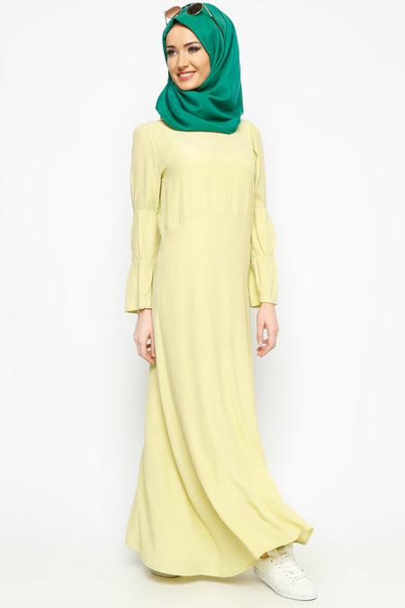 Meryem Acar Fıstık Yeşili Kolları Büzgülü Elbise