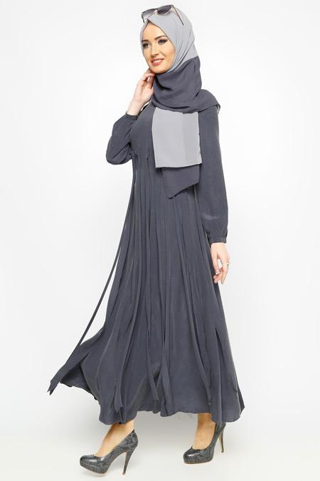 Meryem Acar Füme Püsküllü Elbise