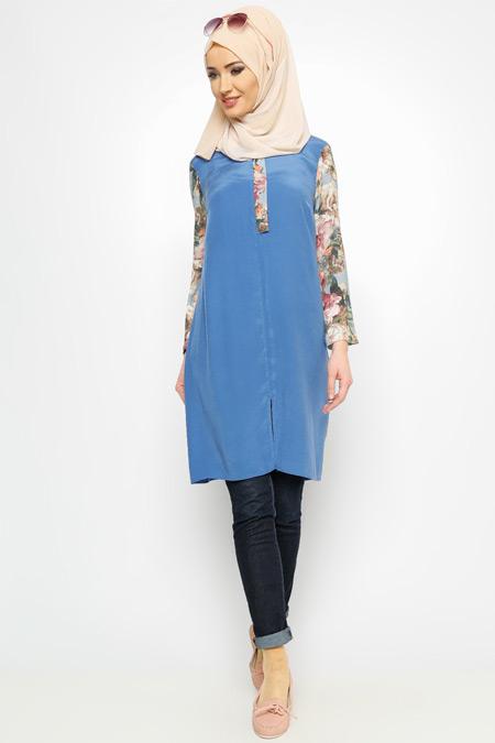 Meryem Acar Mavi Desenli Tunik