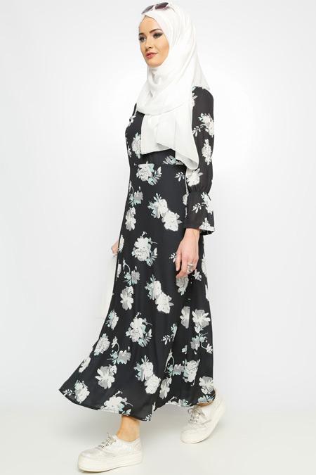 Meryem Acar Siyah Çiçekli Elbise