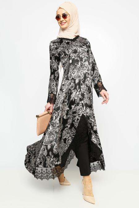 Meryem Acar Siyah Krem Dantel Detaylı Tunik