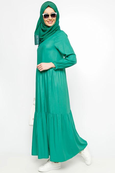 Meryem Acar Yeşil Fistolu Elbise