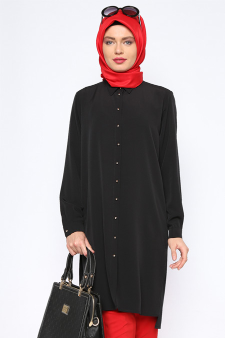 Missmira Siyah Düğmeli Tunik