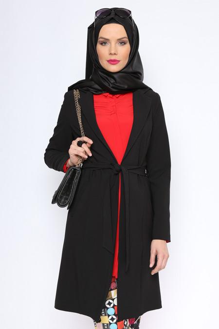 Missmira Siyah Uzun Ceket