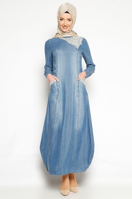 Neways Mavi Dantel Detaylı Kot Elbise