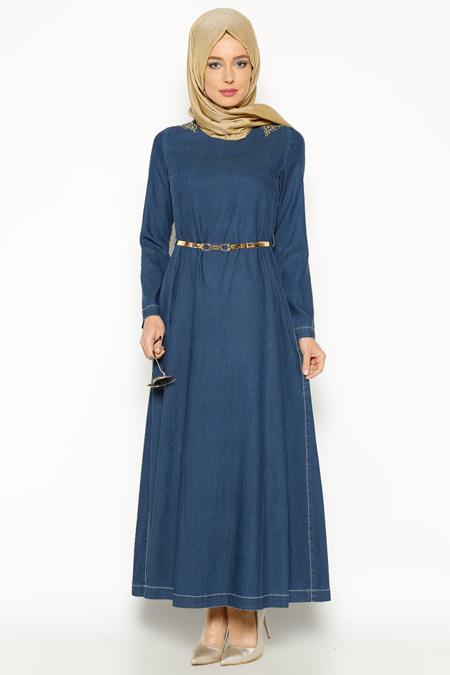 Nihan İndigo Kemerli Elbise
