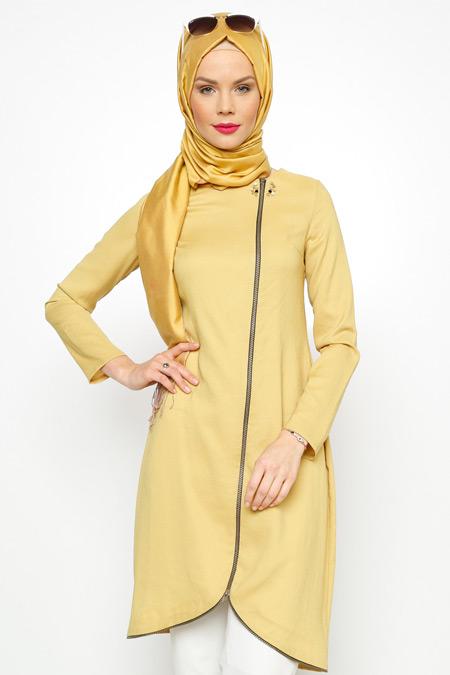 Nihan Sarı Fermuarlı Tunik