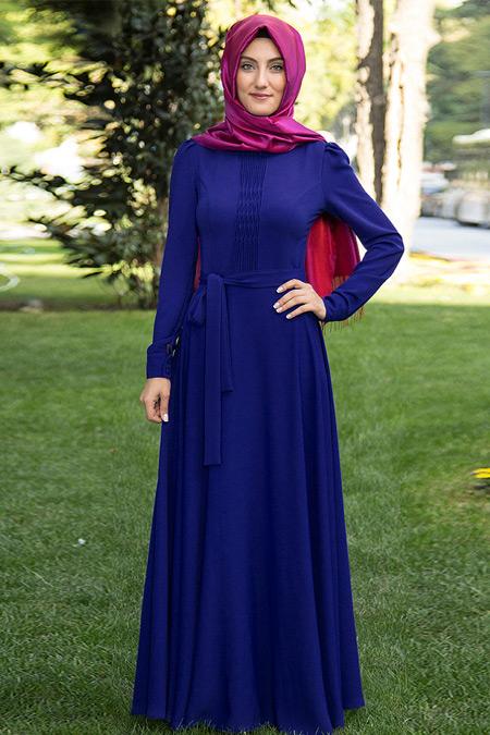 Nurkombin Saks Petek İşlemeli Elbise