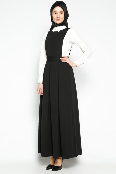 Pita Siyah Pileli Jile Elbise