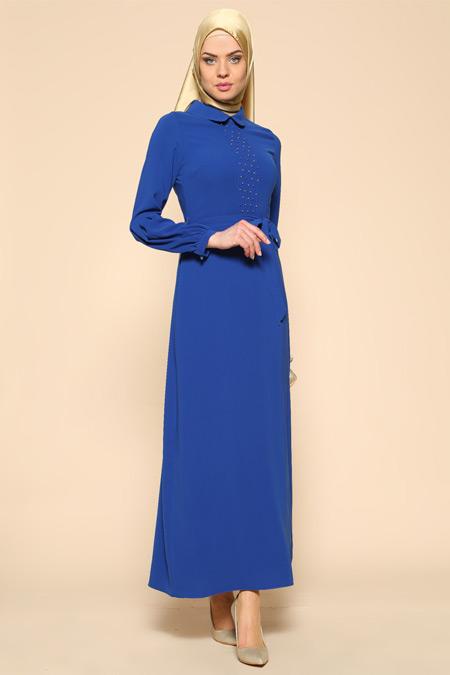 Puane Saks Boncuk Detaylı Elbise