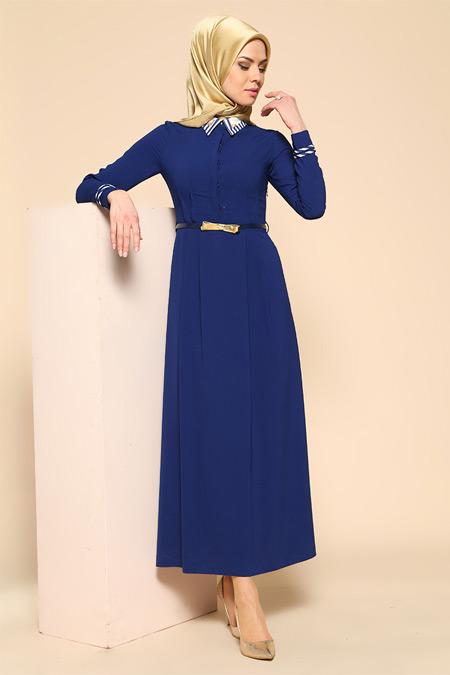 Puane Sax Kemerli Elbise