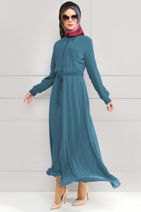 Refka Petrol Şifon Elbise