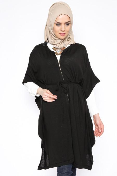 Seyhan Fashion Siyah Fermuarlı Triko Yelek