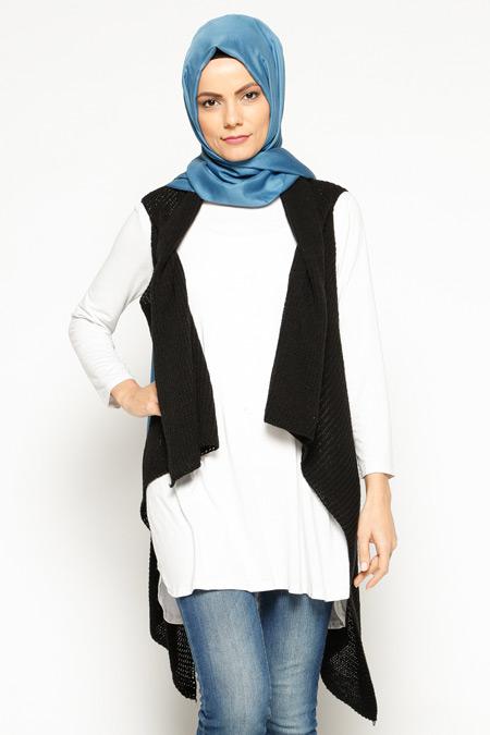 Seyhan Fashion Siyah Triko Yelek