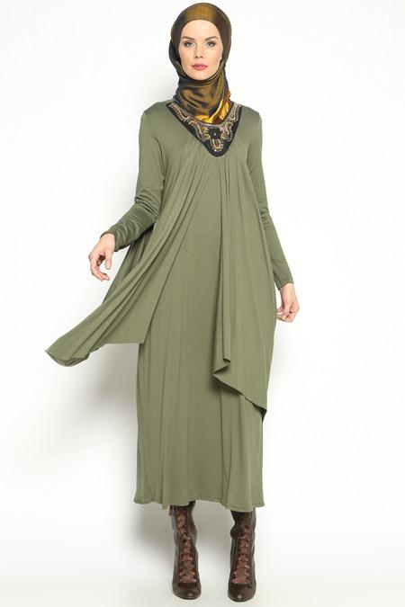 Topless Haki Yakası İşli Elbise
