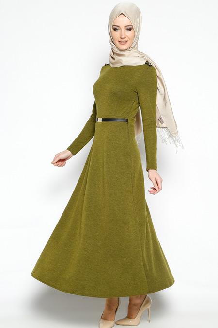 Topless Yağ Yeşili Beli Tokalı Elbise