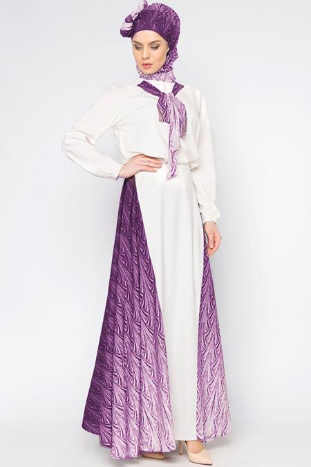 Tuva By Burcu Aslan Mürdüm Desenli Elbise