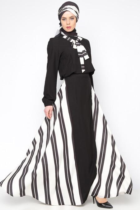 Tuva By Burcu Aslan Siyah Çizgili Elbise