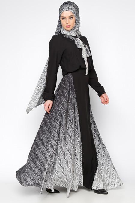 Tuva By Burcu Aslan Siyah Desenli Elbise