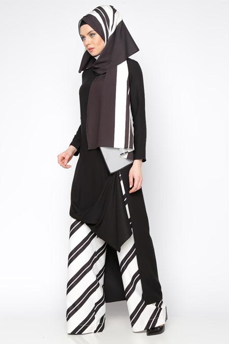 Tuva By Burcu Aslan Siyah Yırtmaçlı Uzun Tunik