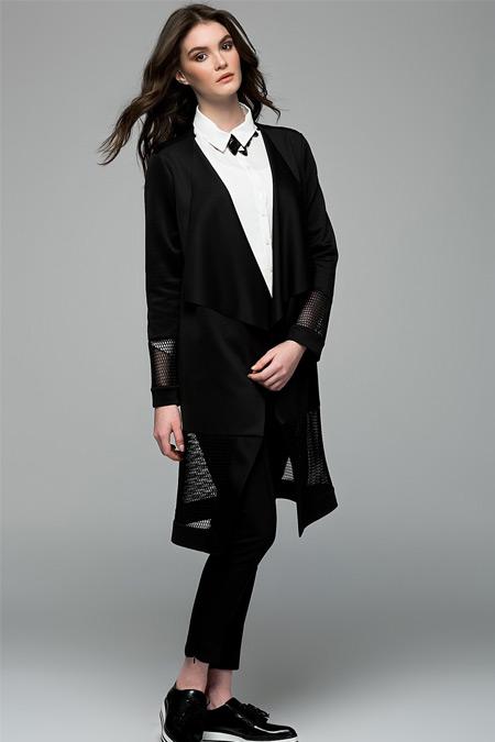 Vavist Siyah File Detaylı Ceket