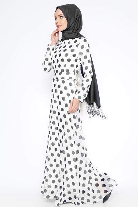 Zernişan Siyah Puantiyeli Şifon Elbise