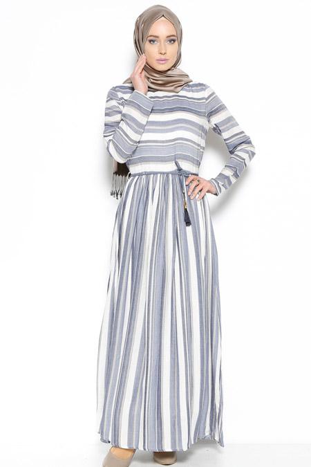 ANNA Lacivert Çizgili Elbise