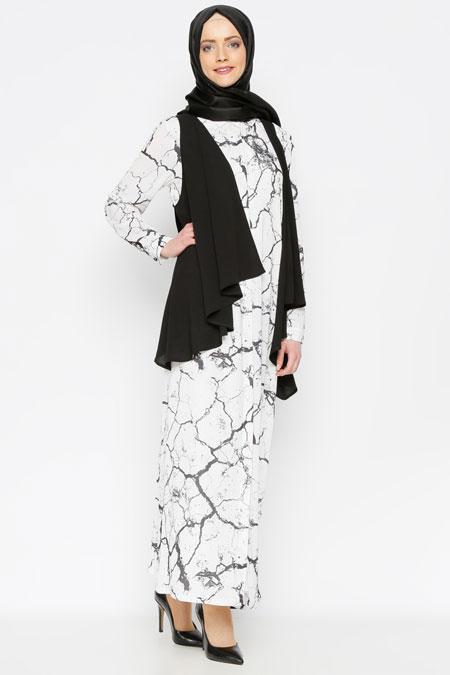 ANNA Siyah-Ekru Yelek&Elbise İkili Takım