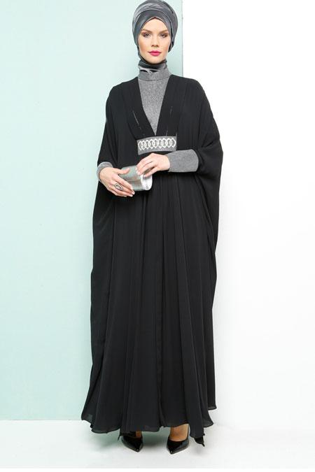 Armine Siyah Taş Detaylı Abiye Elbise