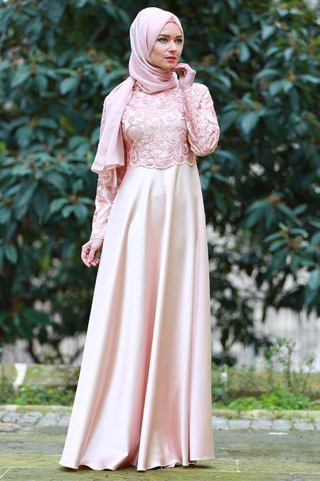Ayşen Özen Somon Güpürlü Abiye Elbise