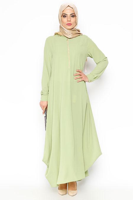 Beha Tesettür Su Yeşili Kapüşonlu Elbise