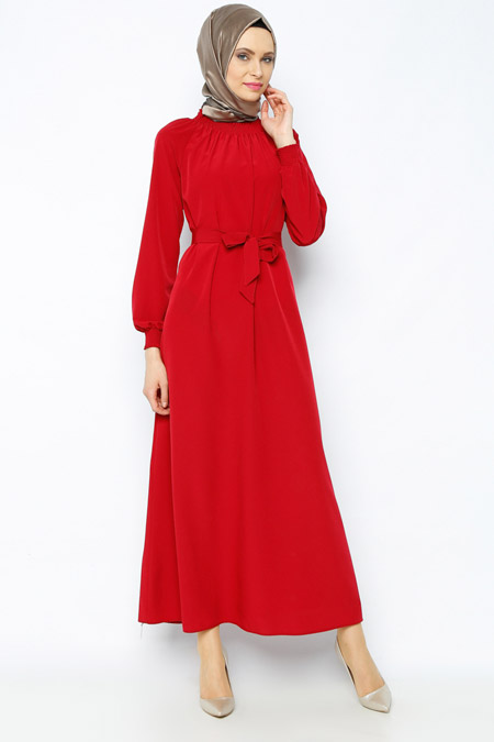 Belle Belemir Bordo Kemerli Elbise