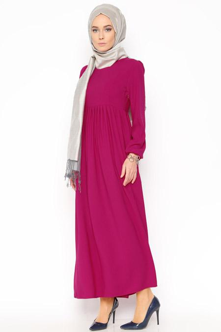 Belle Belemir Fuşya Düz Renk Elbise