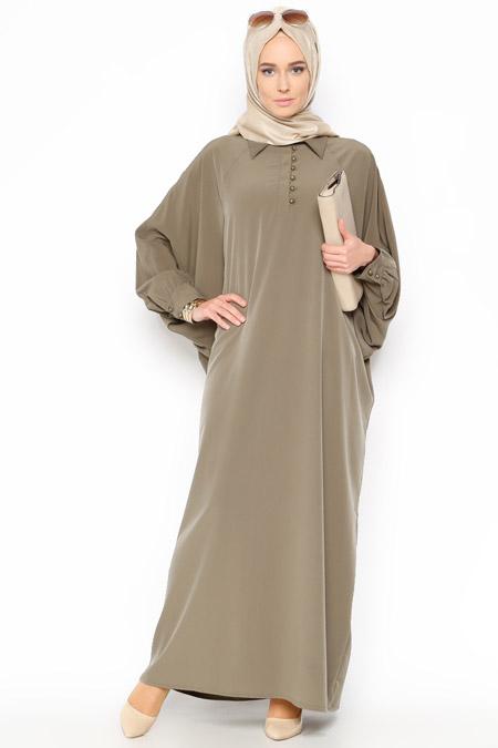 Belle Belemir Haki Yarasa Kollu Elbise