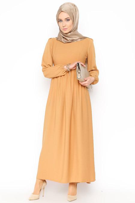 Belle Belemir Hardal Düz Renk Elbise