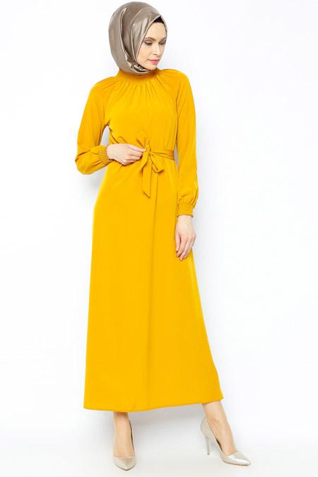 Belle Belemir Hardal Kemerli Elbise