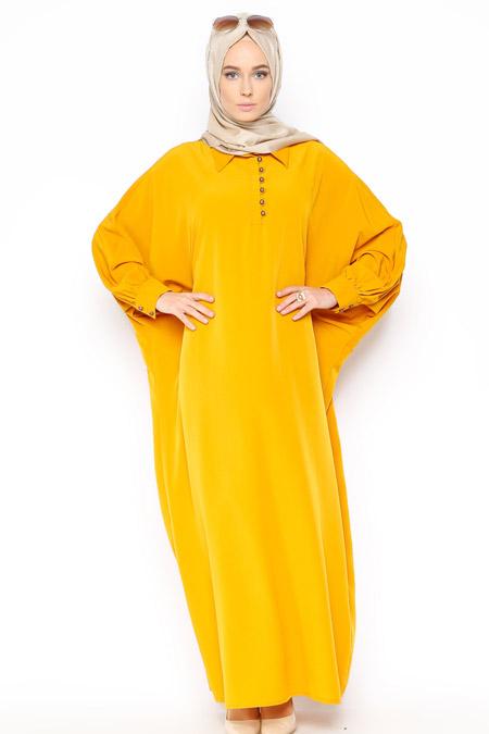 Belle Belemir Hardal Yarasa Kollu Elbise