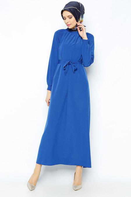 Belle Belemir Saks Kemerli Elbise