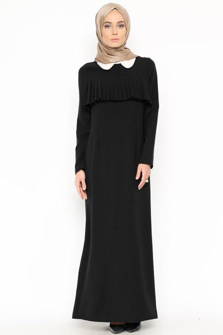 Belle Belemir Siyah Fırfır Detaylı Elbise