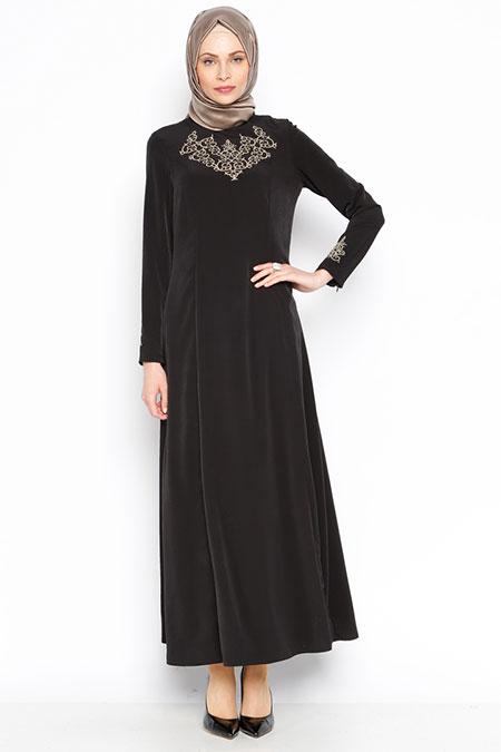 Bislife Siyah Nakışlı Elbise