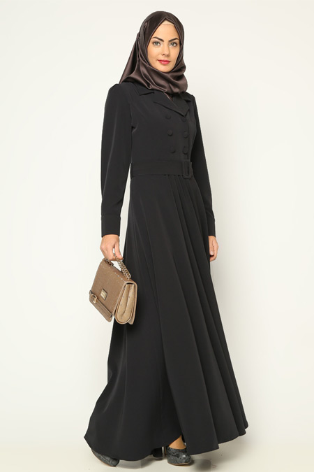 Bürün Lacivert Düğmeli Elbise