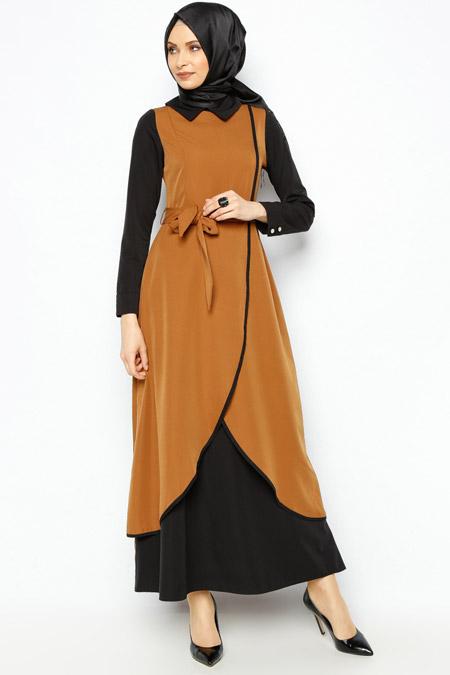 Butik Neşe Hardal & Siyah Anvelop Elbise