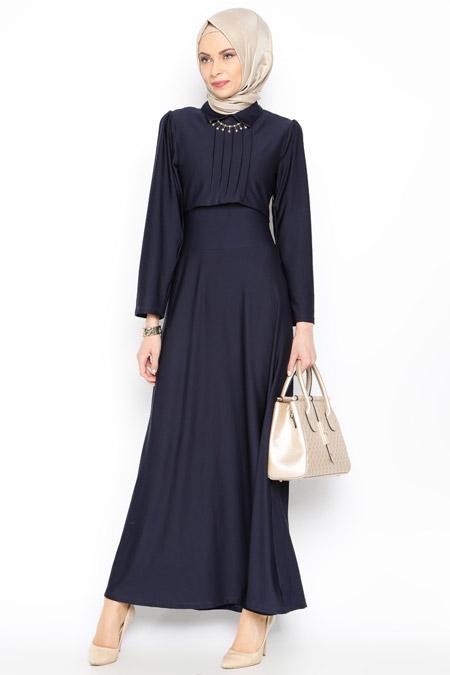 Dilay Moda Lacivert Kolye Detaylı Elbise