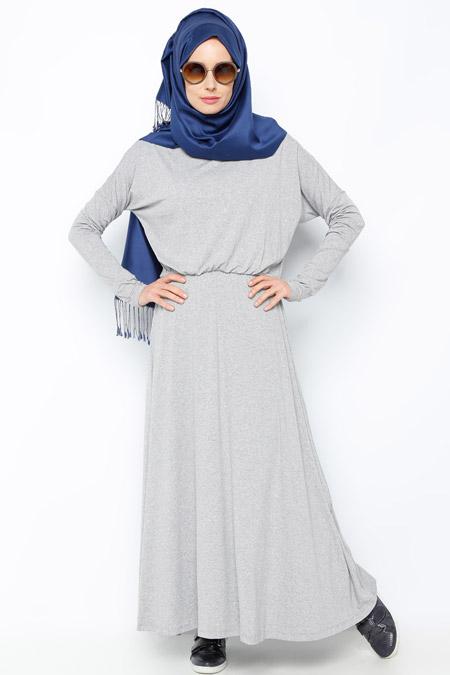 Everyday Basic Gri Yarasa Kollu Elbise
