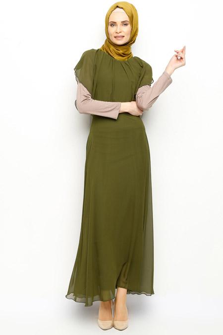 İroni Haki Sifon Uzun Elbise