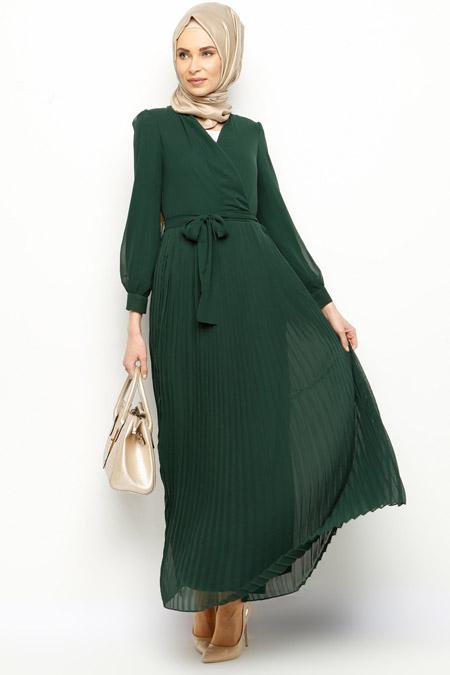İroni Zümrüt Pliseli Şifon Elbise