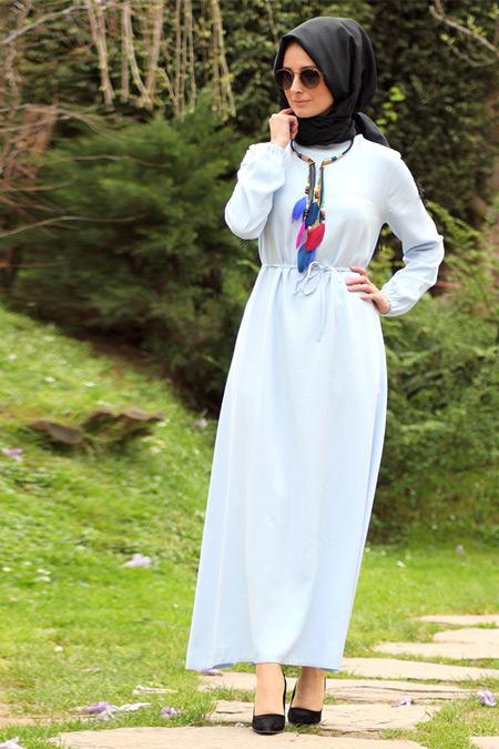 Melek Aydın Mavi Beli Bağcıklı Elbise